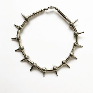 Vintage silver bolted stud choker necklace